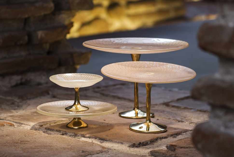 Renaissance patterned tableware (cake stands with bronze pedestals) by AnnaVasily arranged on ancient ruins.