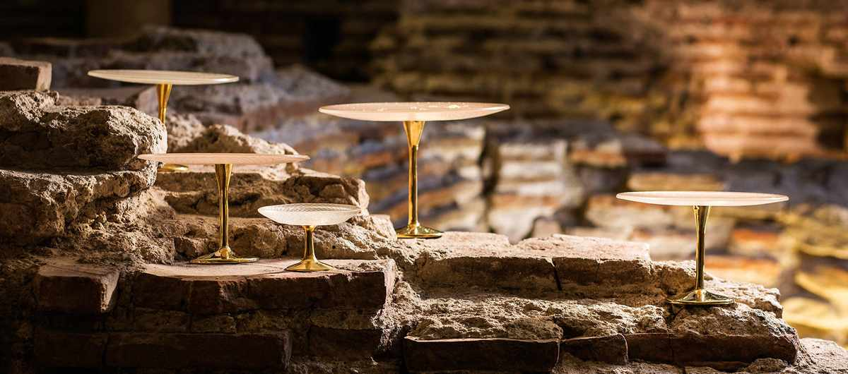 Patterned cake stands with bronze pedestals by AnnaVasily on the ancient serdika ruins in Sofia