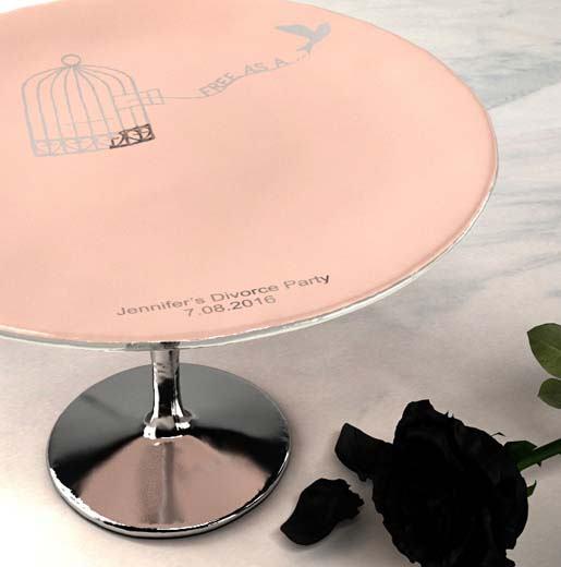 bespoke dinnerware divorce cake stand