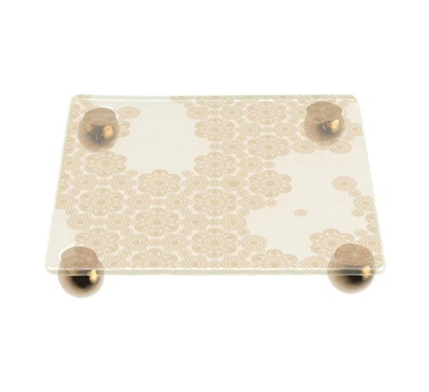 Handcrafted Square Cake Stand on Supports Designed by Anna Vasily - 3/4 View