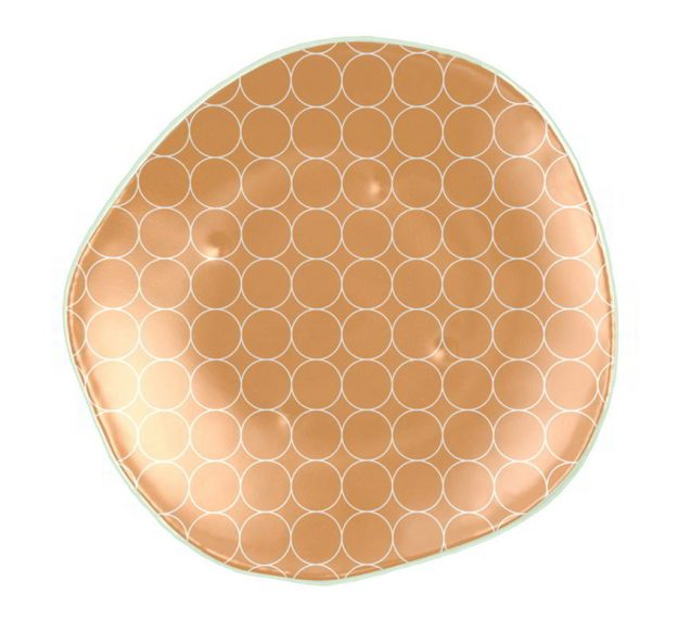 Curvy Gold Dinner Plates with a Retro Pattern Designed by Anna Vasily - Top View