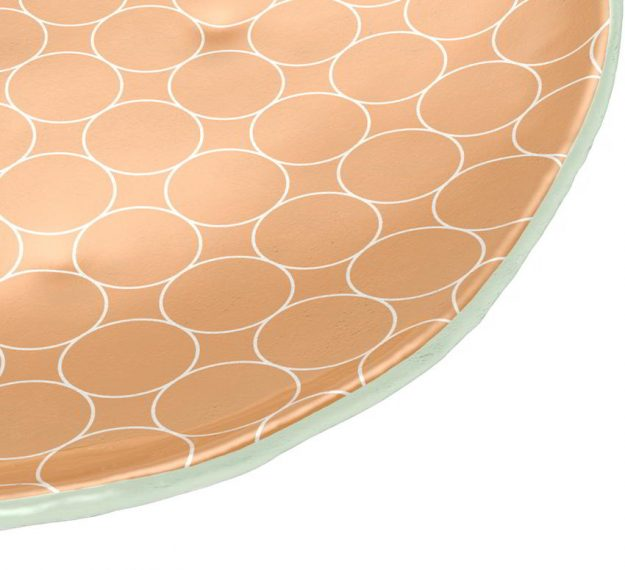 Curvy Gold Dinner Plates with a Retro Pattern Designed by Anna Vasily - Detail View