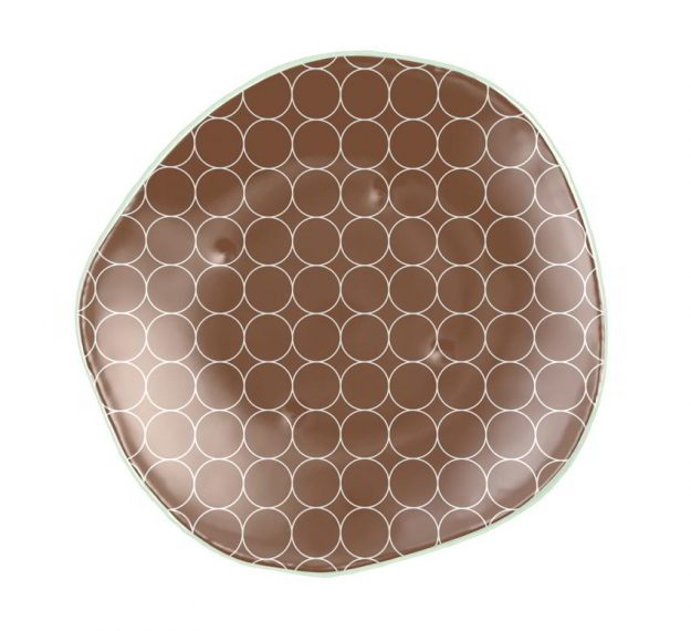 Brown Dessert Plates with a Retro Pattern Designed by Anna Vasily - Top View