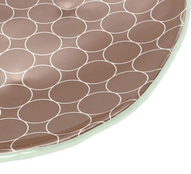 Brown Dessert Plates with a Retro Pattern Designed by Anna Vasily - Detail View
