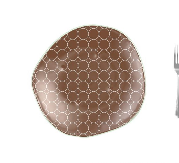 Brown Dessert Plates with a Retro Pattern Designed by Anna Vasily - Measure View