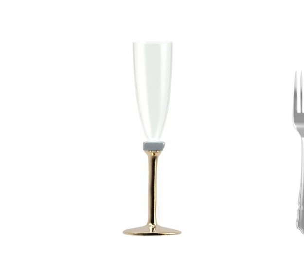 Elegant Champagne Glasses With Brass Stem Designed by Anna Vasily - Measure View