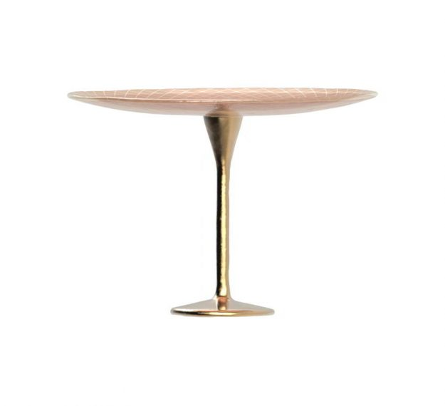 Rose Gold Cake Holder on a Brass Pedestal by Anna Vasily - Side View