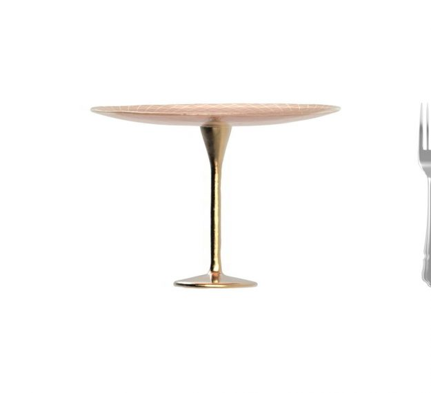 Rose Gold Cake Holder on a Brass Pedestal by Anna Vasily - Measure View