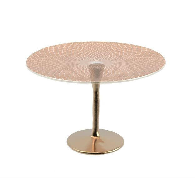 Round Rose Gold Cake Stand for a Flash of Luxe by Anna Vasily - 3/4 View