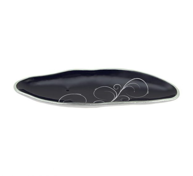 Navy Blue Salad Plate With Organic Rim Designed by Anna Vasily - 3/4 View