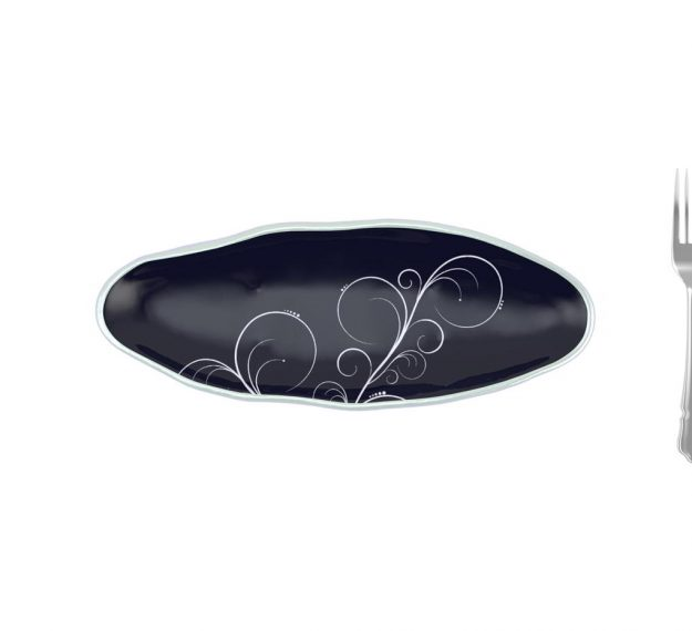 Navy Blue Salad Plate With Organic Rim Designed by Anna Vasily - Measure View