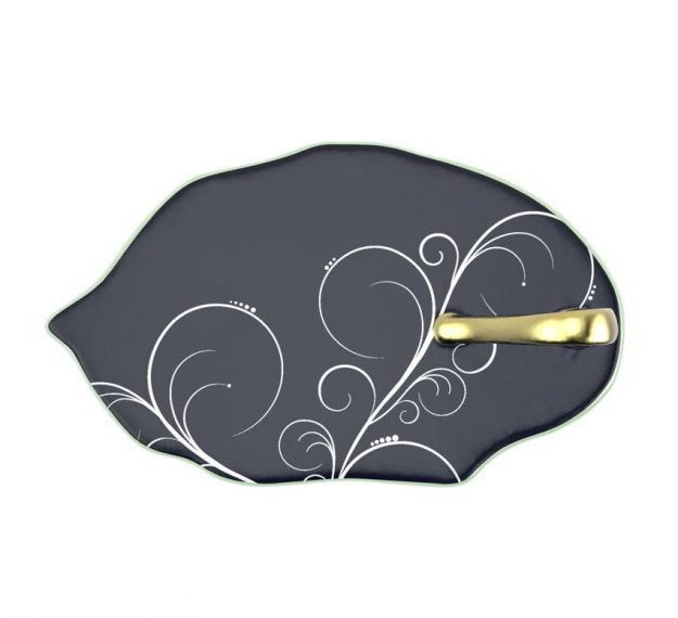 Navy Blue Canape Plates With Handle Designed by Anna Vasily - Top View