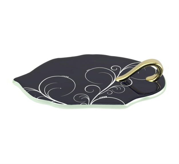 Navy Blue Canape Plates With Handle Designed by Anna Vasily - 3/4 View