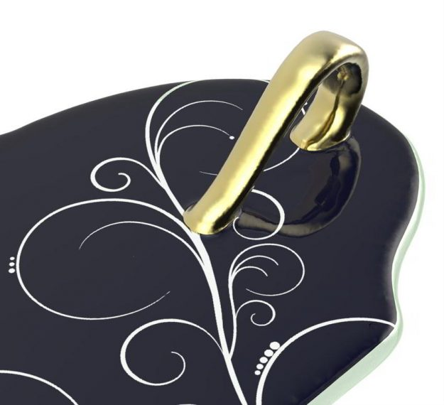Navy Blue Canape Plates With Handle Designed by Anna Vasily - Detail View