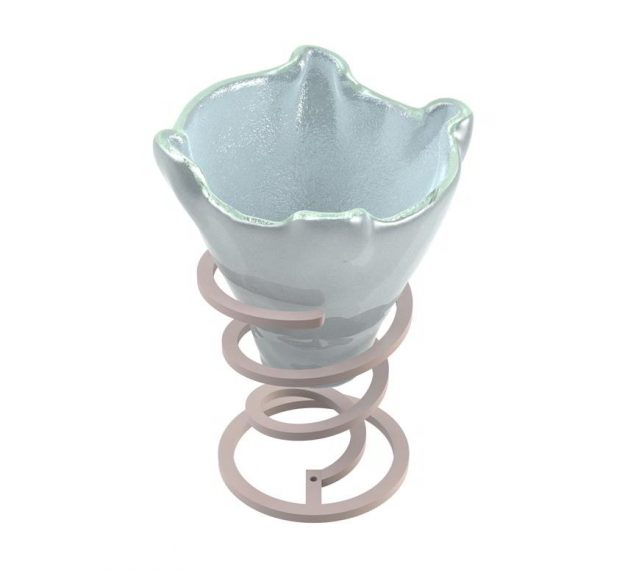 Set of 2 Light Blue Ice Cream Bowls Designed by Anna Vasily - 3/4 View