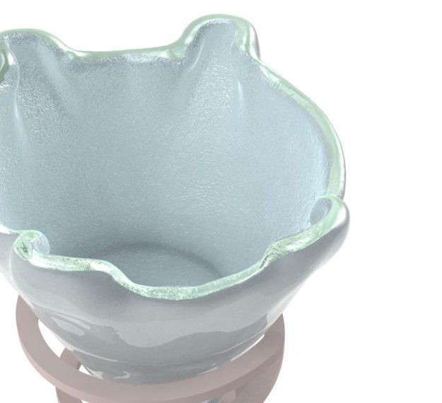 Set of 2 Light Blue Ice Cream Bowls Designed by Anna Vasily - Detail View