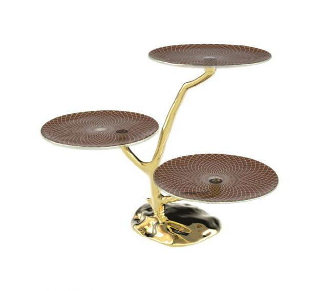 Three Tier Cake Stand Centrepiece With 3 Cake Plates by Anna Vasily - 3/4 View