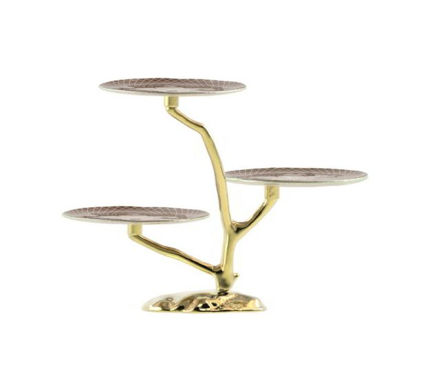 Three Tier Cake Stand Centrepiece With 3 Cake Plates by Anna Vasily - Side View