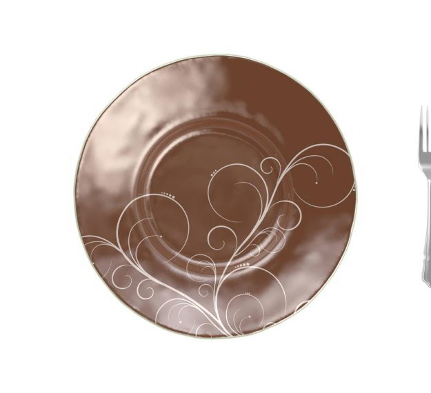 Large brown pasta plate