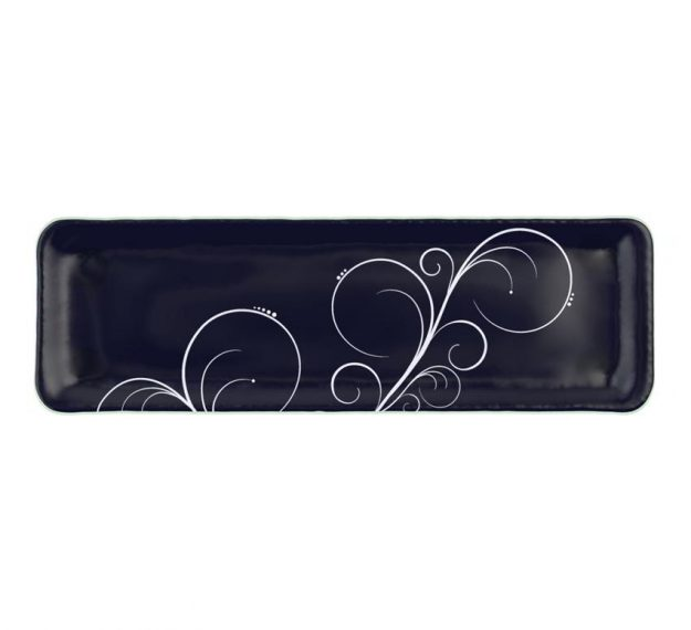 Modern Navy Blue Floral Petit Fours Plate Designed by Anna Vasily - Top View
