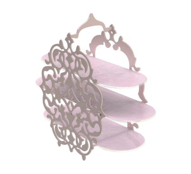 Pink Tiered High Tea Stand with Intricate Pattern by Anna Vasily - 3/4 View