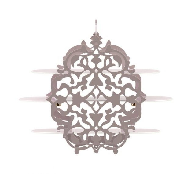 Pink Tiered High Tea Stand with Intricate Pattern by Anna Vasily - Side View