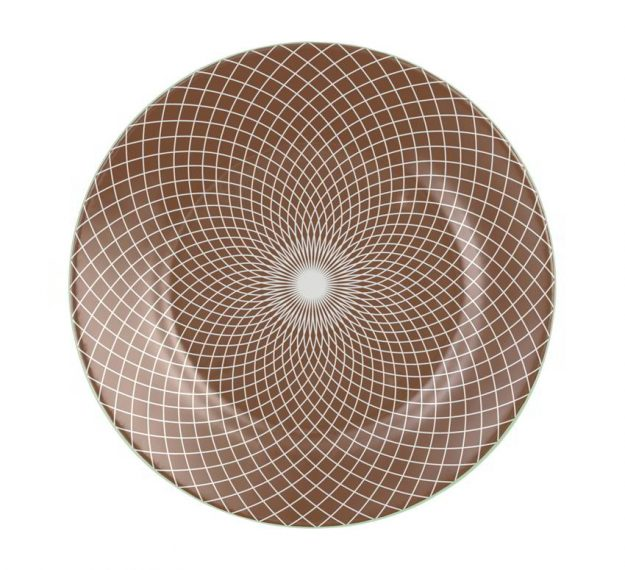 Patterned Large Charger Plates in Doe Brown Designed by Anna Vasily - Top View