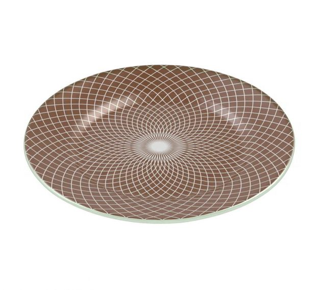 Patterned Large Charger Plates in Doe Brown Designed by Anna Vasily - 3/4 View