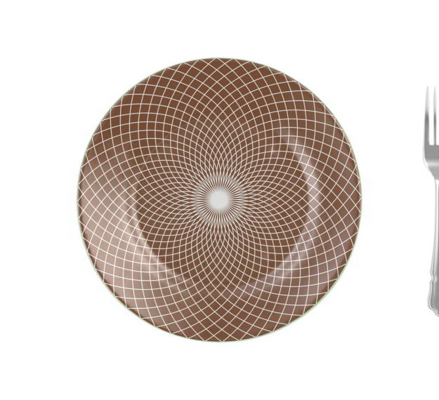 Patterned Large Charger Plates in Doe Brown Designed by Anna Vasily - Measure View