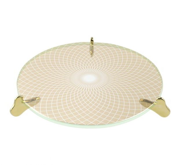 Round cream glass cake stand