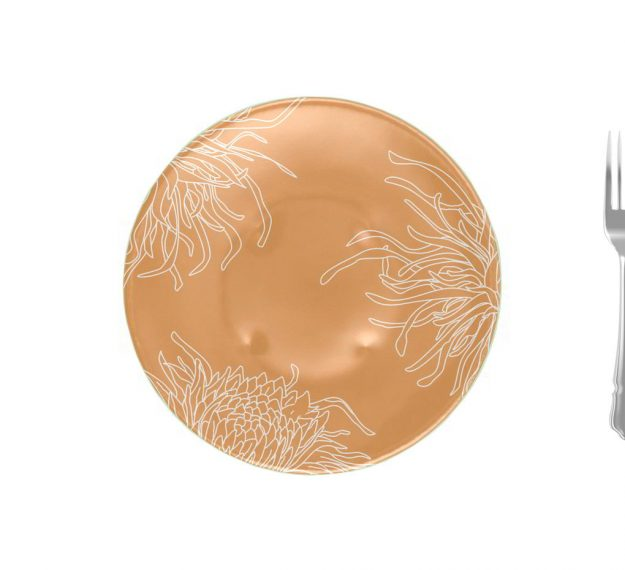 Floral Gold Dinner Plates with a Matte Finish Designed by Anna Vasily - Measure View