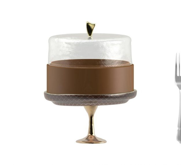 Brown cake stand with dome