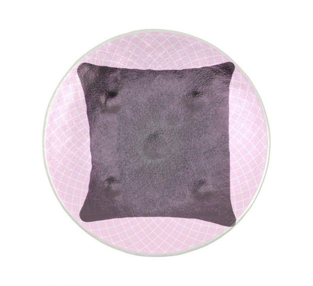 A Patterned Pink Petit Fours Plate on a Pillow by Anna Vasily - Top View