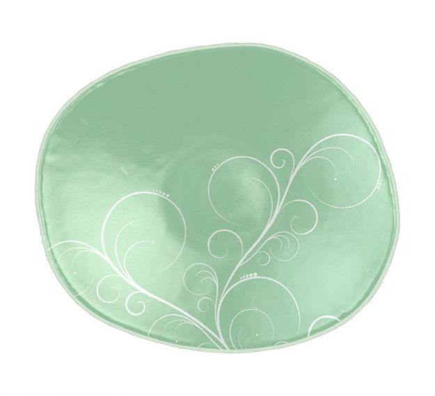 Mint Green Small Side Plates with Floral Pattern by Anna Vasily - Top View