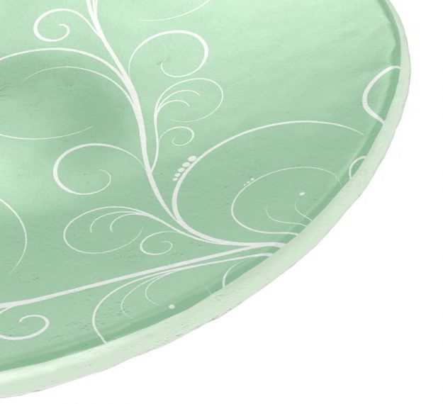 Mint Green Small Side Plates with Floral Pattern by Anna Vasily - Detail View