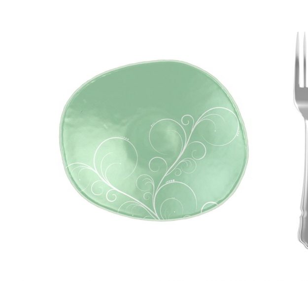 Mint Green Small Side Plates with Floral Pattern by Anna Vasily - Measure View