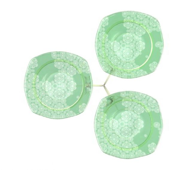 Green Fruit Bowl Stand With 3 Glass Bowls Designed by Anna Vasily - Top View