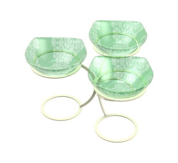 Green Fruit Bowl Stand With 3 Glass Bowls Designed by Anna Vasily - 3/4 View