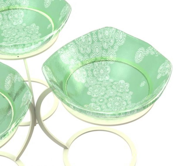 Green Fruit Bowl Stand With 3 Glass Bowls Designed by Anna Vasily - Detail View