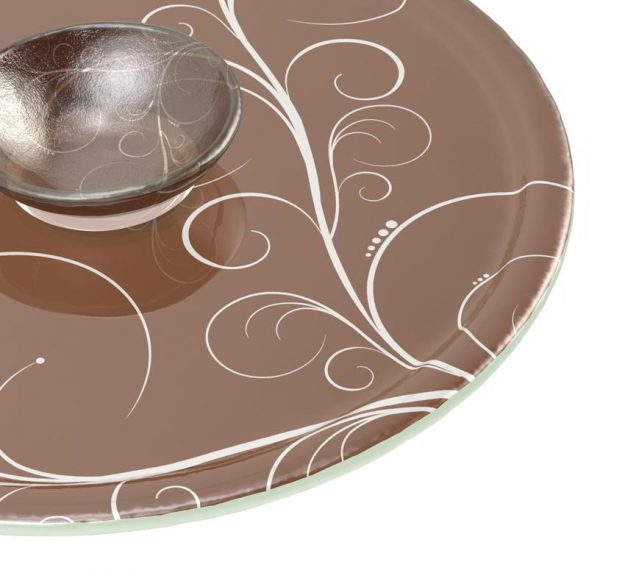 Brown dip platter with bowl