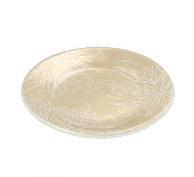 Round Small Side Plates in Beige with Floral Pattern by Anna Vasily - 3/4 View