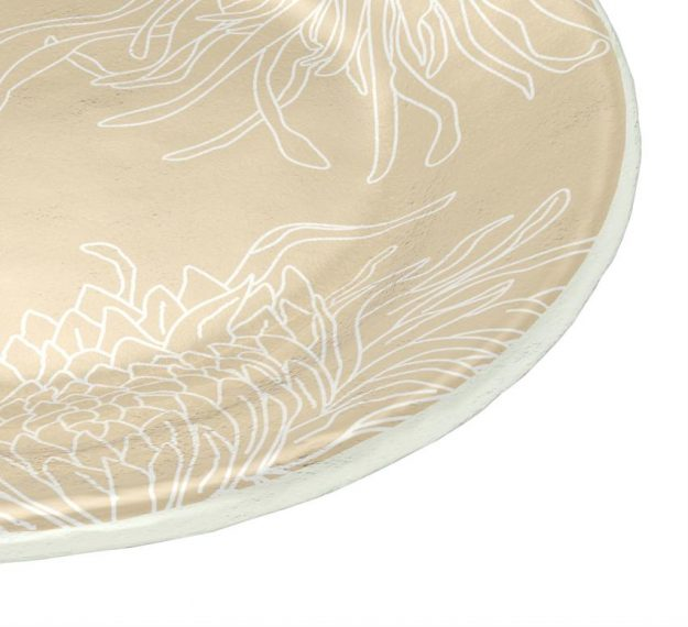 Round Small Side Plates in Beige with Floral Pattern by Anna Vasily - Detail View