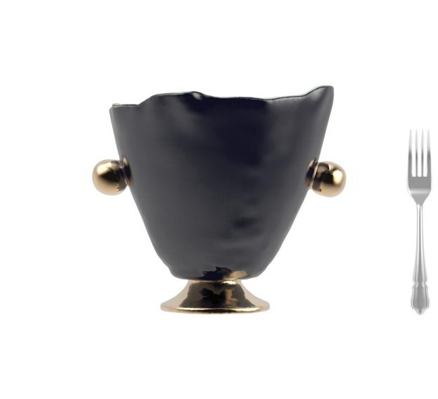 Glass Wine Ice Bucket on Pedestal with Bronze Handles by Anna Vasily - Measure View