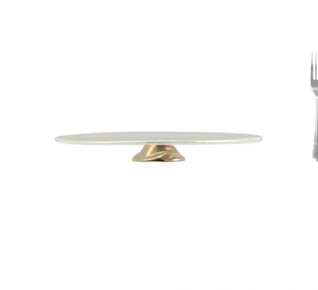 White Pedestal Cake Stand Understated Elegance by Anna Vasily - Measure View