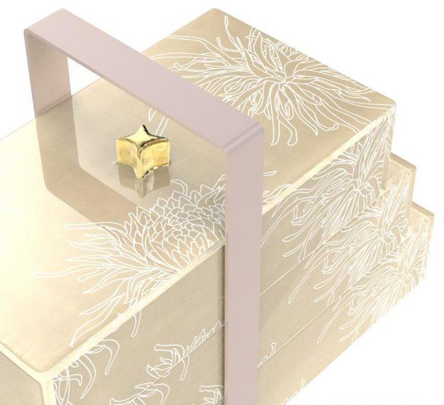 Cream bento box with handle