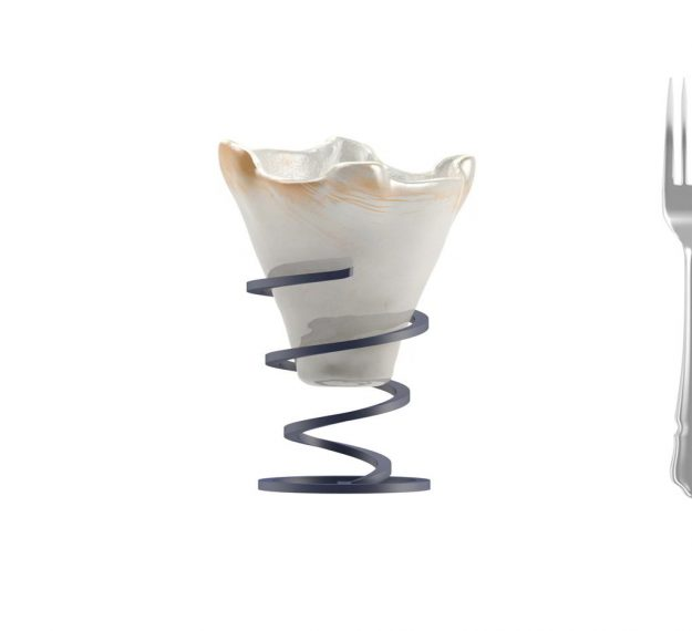 Cute Ice Cream Bowls with Spiral Stand Designed by Anna Vasily - Measure View