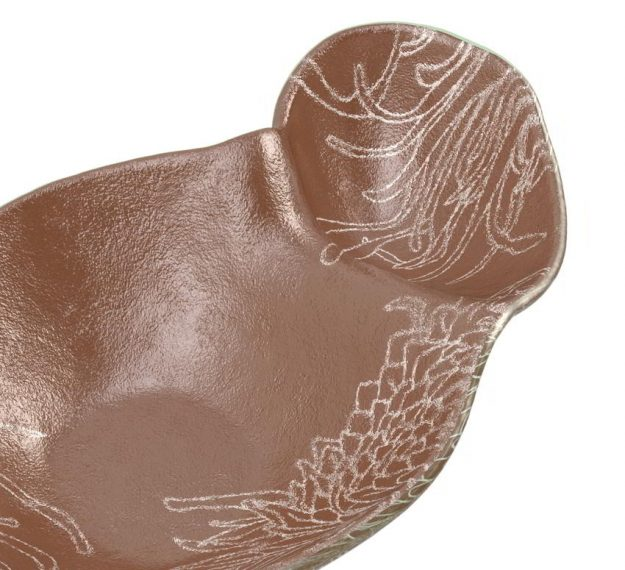 Organic Shaped Brown Chip And Dip Bowl Designed by Anna Vasily - Detail View