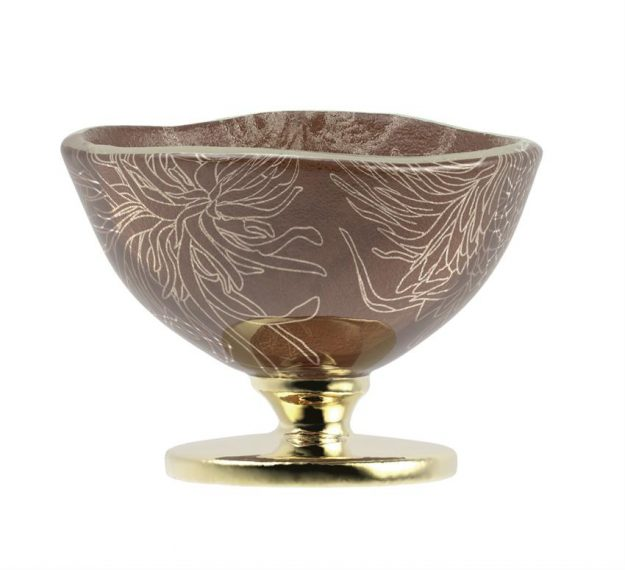 Handcrafted Doe Brown Sorbet Bowls with Floral Pattern by Anna Vasily - Side View