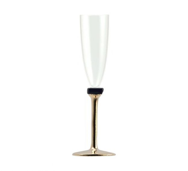Set/2 Designer Champagne Glasses Designer Glassware by Anna Vasily - Side View