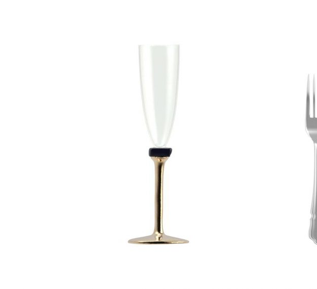 Set/2 Designer Champagne Glasses Designer Glassware by Anna Vasily - Measure View